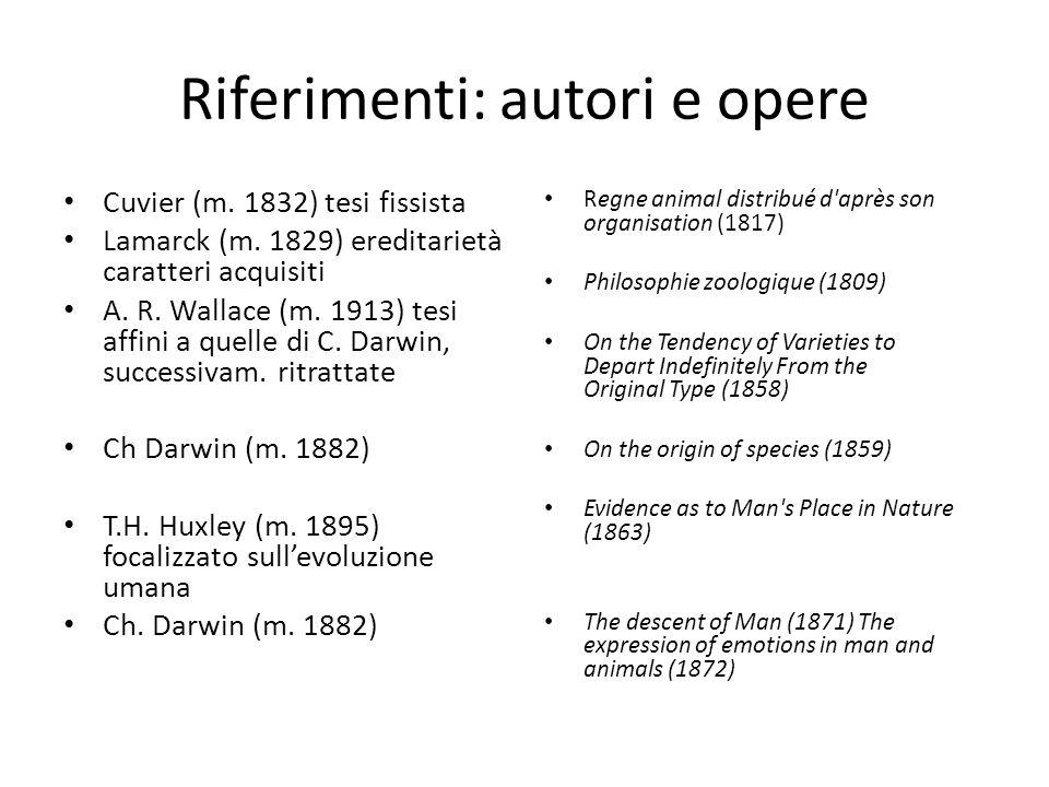 Riferimenti: autori e opere Cuvier (m. 1832) tesi fissista Lamarck (m. 1829) ereditarietà caratteri acquisiti A. R. Wallace (m. 1913) tesi affini a qu