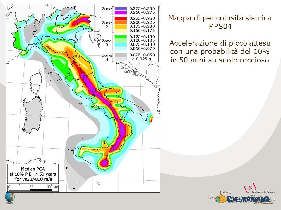 Mappa di pericolosità sismica MPS04 Accelerazione di picco attesa con una probabilità del 10% in 50 anni su suolo roccioso