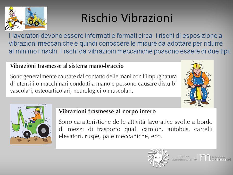 Rischio Vibrazioni I lavoratori devono essere informati e formati circa i rischi di esposizione a vibrazioni meccaniche e quindi conoscere le misure d