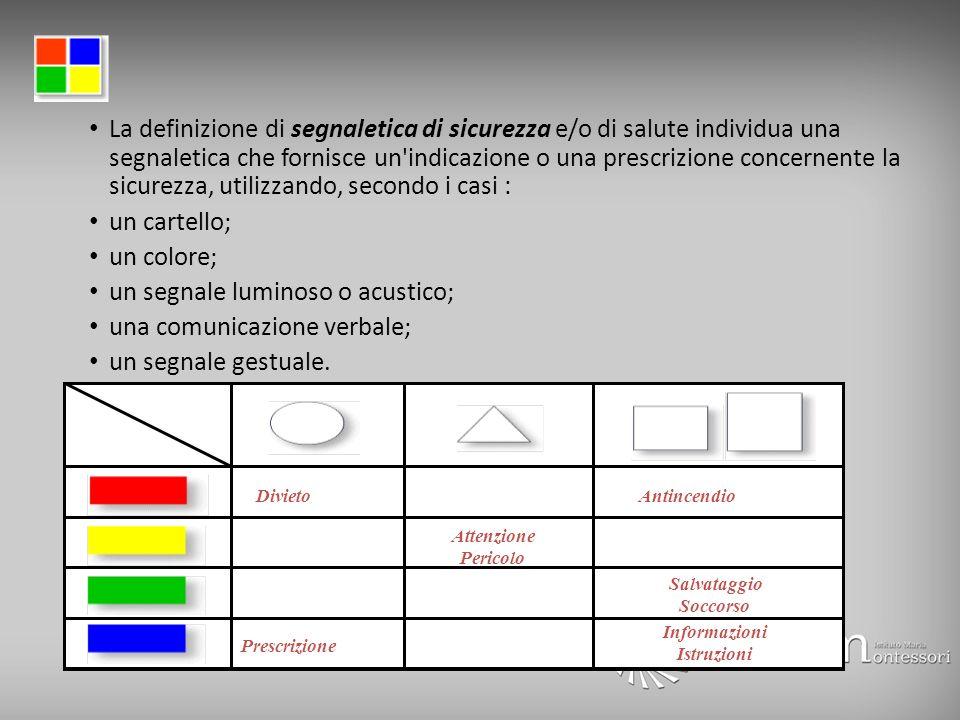 La definizione di segnaletica di sicurezza e/o di salute individua una segnaletica che fornisce un'indicazione o una prescrizione concernente la sicur