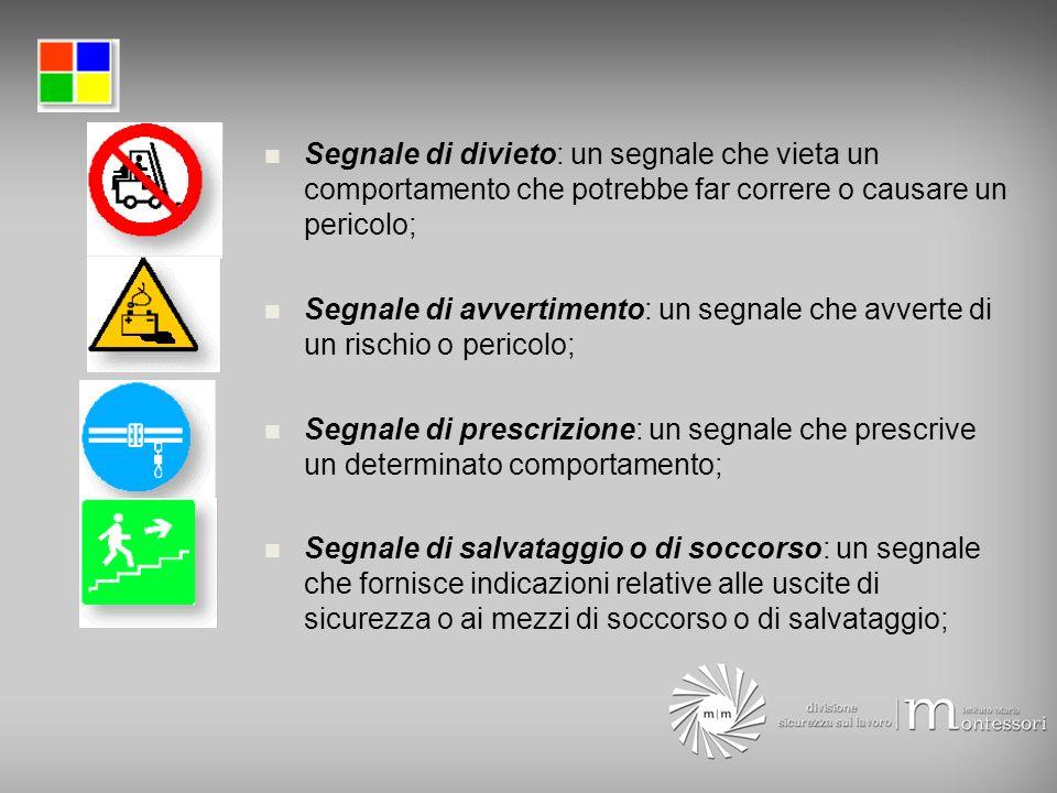Segnale di divieto: un segnale che vieta un comportamento che potrebbe far correre o causare un pericolo; Segnale di avvertimento: un segnale che avve