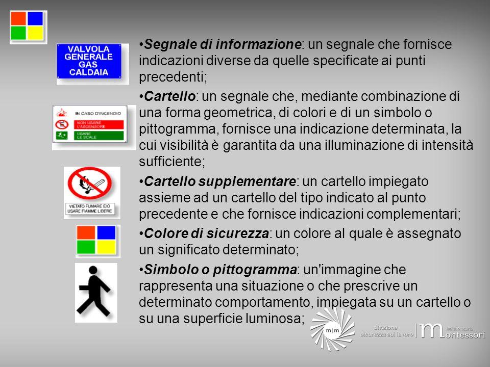 Segnale di informazione: un segnale che fornisce indicazioni diverse da quelle specificate ai punti precedenti; Cartello: un segnale che, mediante com