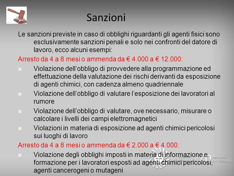 Sanzioni Le sanzioni previste in caso di obblighi riguardanti gli agenti fisici sono esclusivamente sanzioni penali e solo nei confronti del datore di