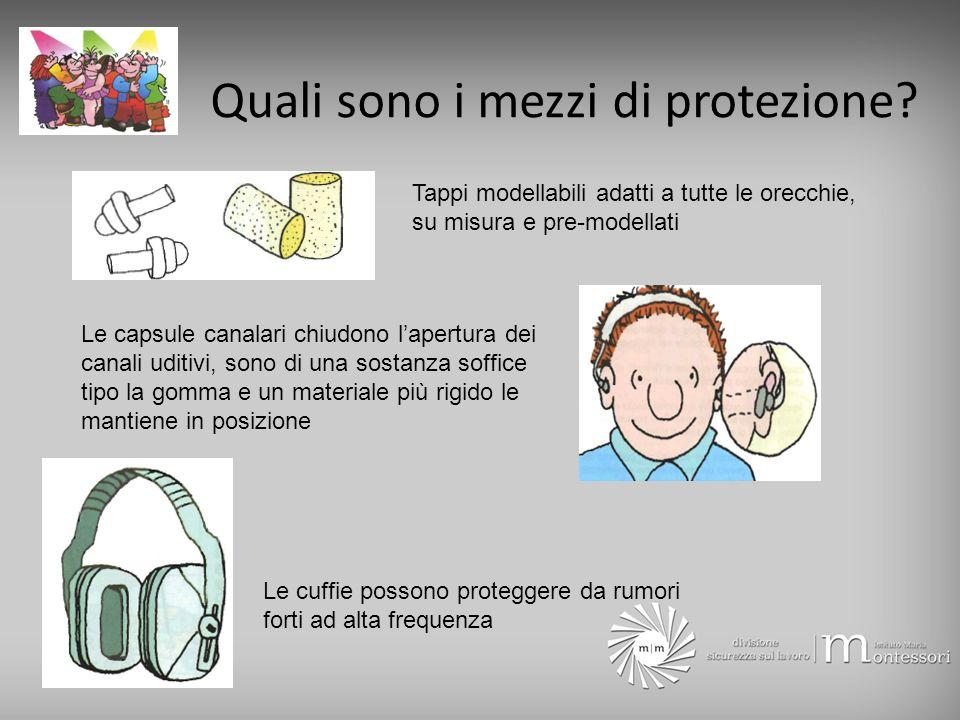 Quali sono i mezzi di protezione? Tappi modellabili adatti a tutte le orecchie, su misura e pre-modellati Le capsule canalari chiudono lapertura dei c