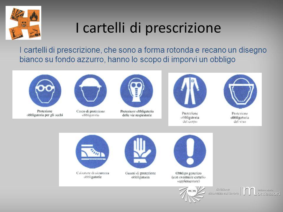 I cartelli di prescrizione I cartelli di prescrizione, che sono a forma rotonda e recano un disegno bianco su fondo azzurro, hanno lo scopo di imporvi