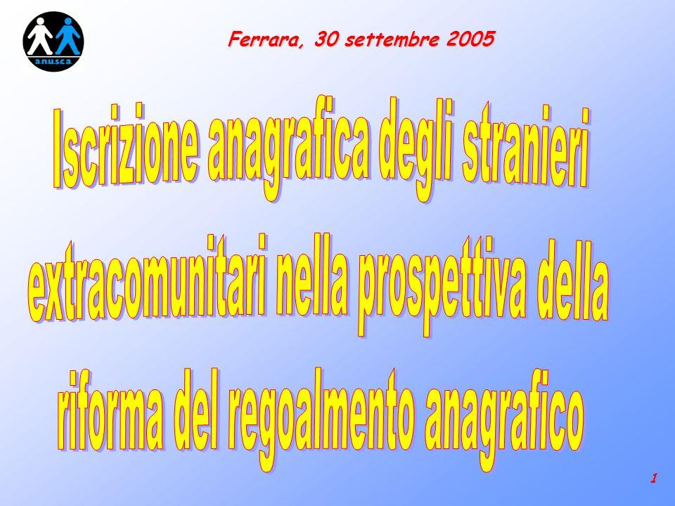 22 Ferrara, 30 settembre 2005 Riepilogando: La potestà certificatoria piena dellAnagrafe vale anche nei confronti degli stranieri .