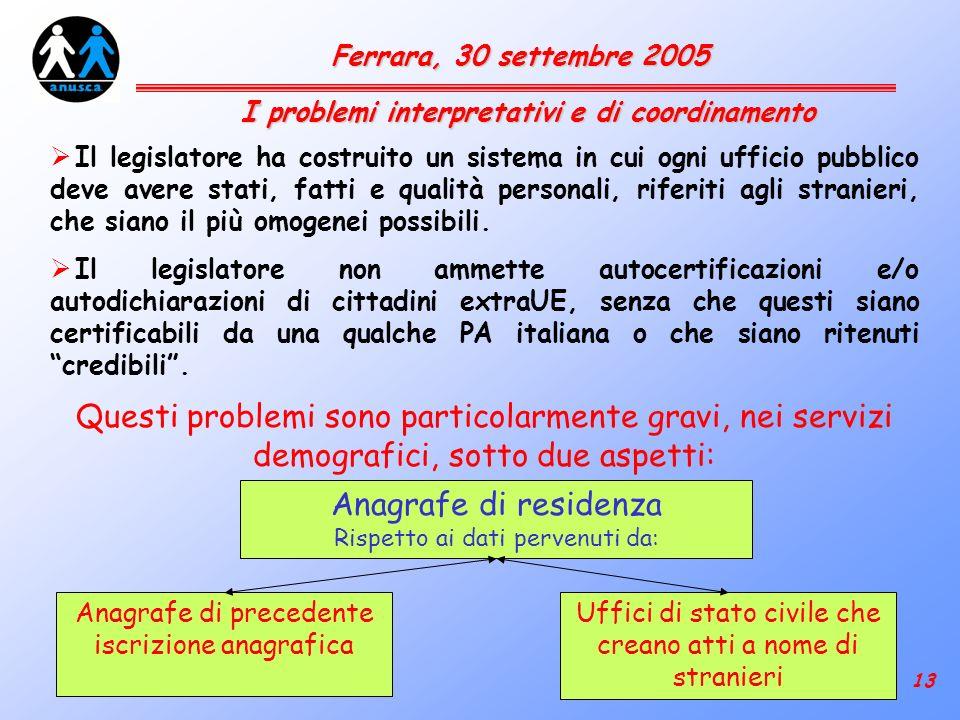 13 Ferrara, 30 settembre 2005 Il legislatore ha costruito un sistema in cui ogni ufficio pubblico deve avere stati, fatti e qualità personali, riferiti agli stranieri, che siano il più omogenei possibili.