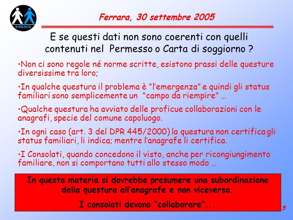 15 Ferrara, 30 settembre 2005 E se questi dati non sono coerenti con quelli contenuti nel Permesso o Carta di soggiorno .