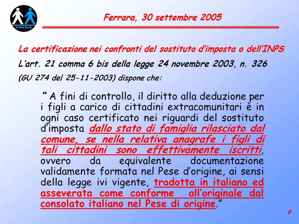 17 Ferrara, 30 settembre 2005 Quale rapporto tra il contenuto degli atti di stato civile e lanagrafe .