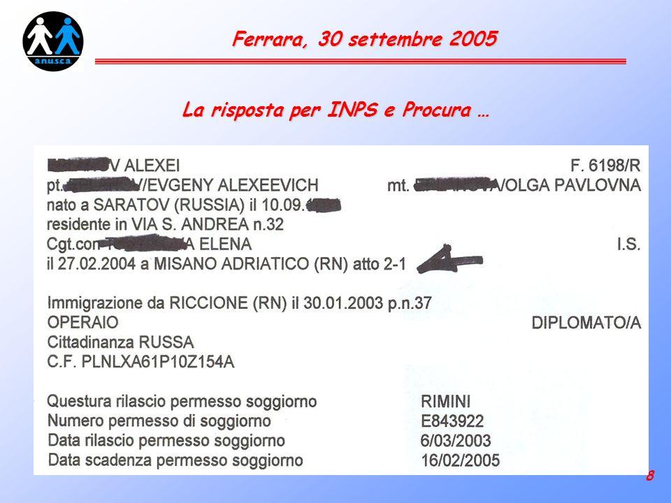 8 Ferrara, 30 settembre 2005 La risposta per INPS e Procura …