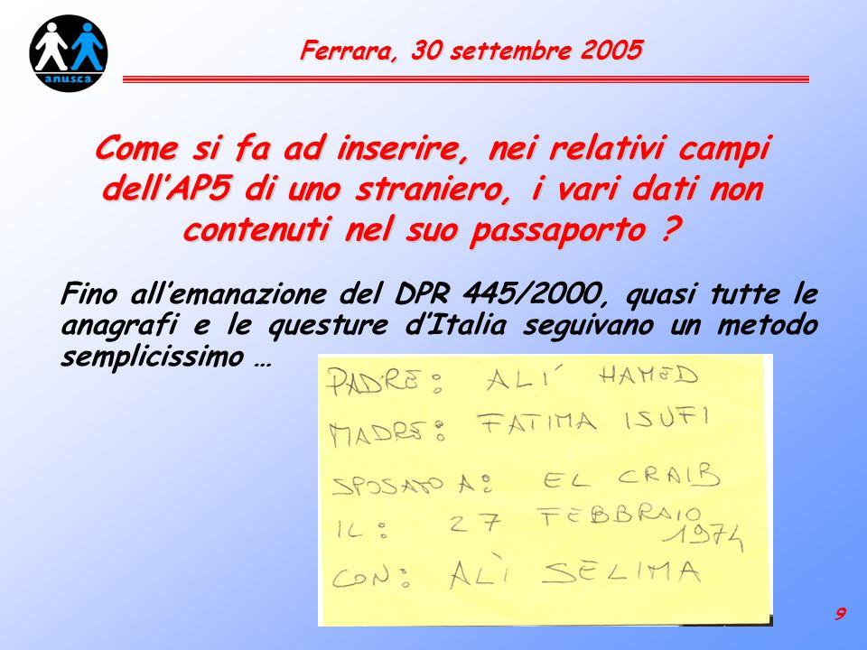 20 Ferrara, 30 settembre 2005 Criteri di collegamento normativo tra status acquisiti allestero e loro efficacia in Italia Circ.