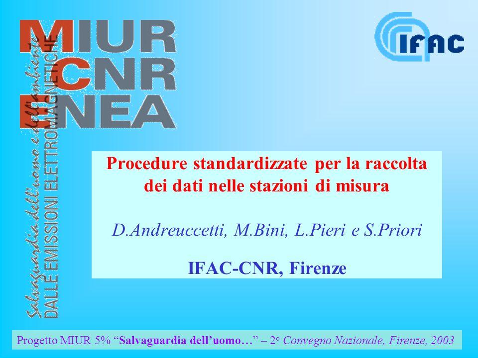 Progetto MIUR 5% Salvaguardia delluomo… – 2 o Convegno Nazionale, Firenze, 2003 Procedure standardizzate per la raccolta dei dati nelle stazioni di misura D.Andreuccetti, M.Bini, L.Pieri e S.Priori IFAC-CNR, Firenze