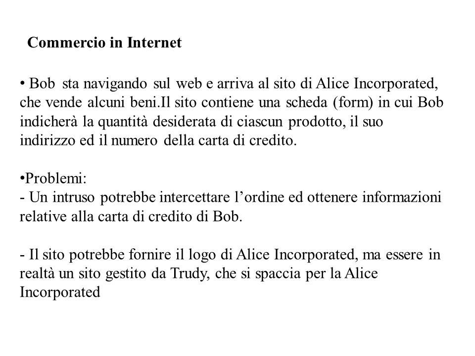 Commercio in Internet Bob sta navigando sul web e arriva al sito di Alice Incorporated, che vende alcuni beni.Il sito contiene una scheda (form) in cui Bob indicherà la quantità desiderata di ciascun prodotto, il suo indirizzo ed il numero della carta di credito.