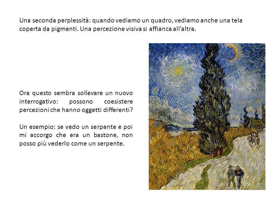 Una seconda perplessità: quando vediamo un quadro, vediamo anche una tela coperta da pigmenti.