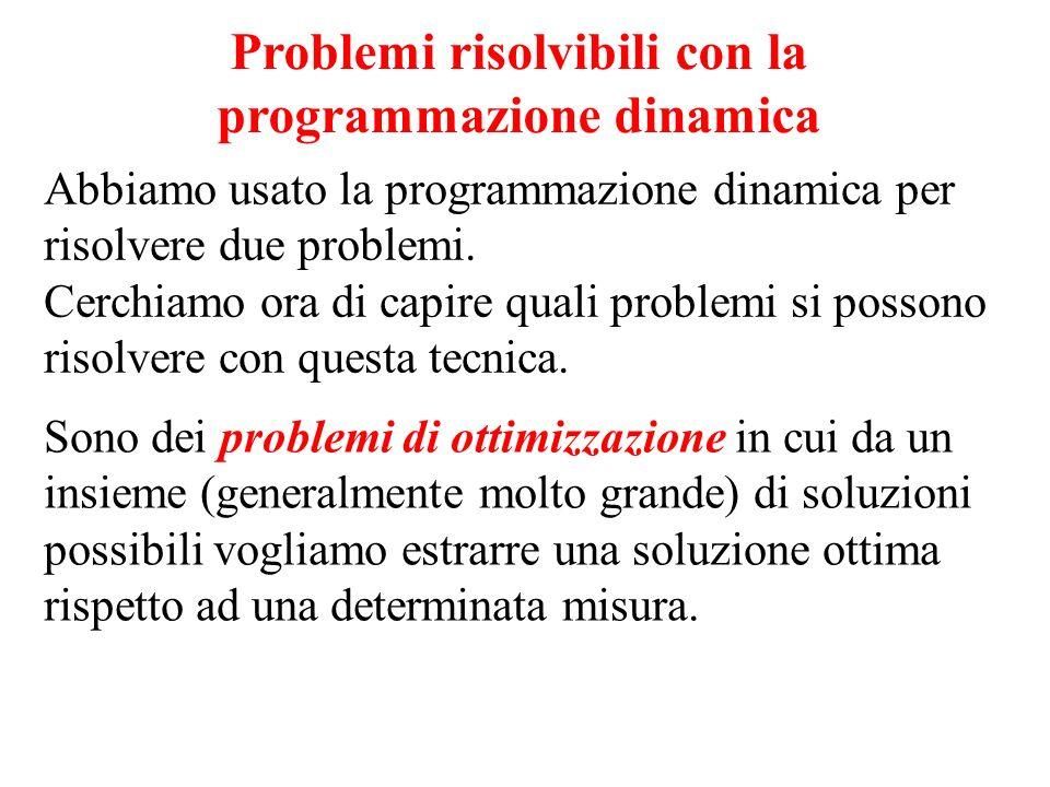 Problemi risolvibili con la programmazione dinamica Abbiamo usato la programmazione dinamica per risolvere due problemi. Cerchiamo ora di capire quali