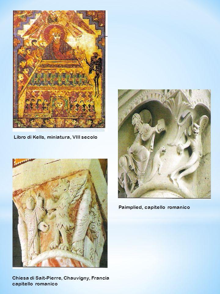 Chiesa di Sait-Pierre, Chauvigny, Francia capitello romanico Libro di Kells, miniatura, VIII secolo Paimplied, capitello romanico