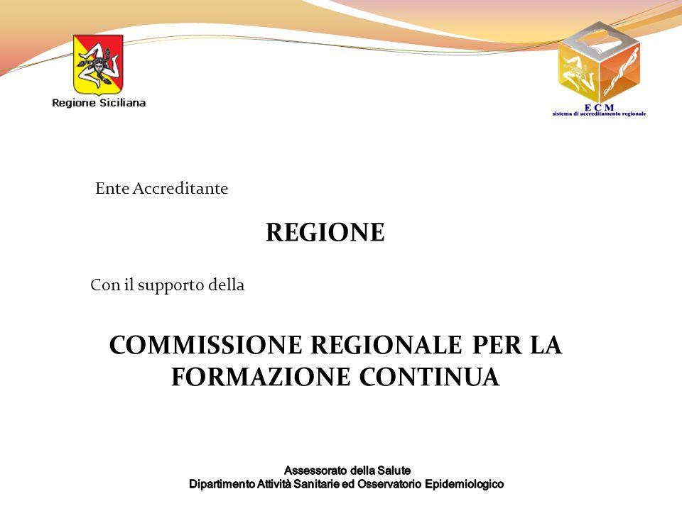 Ente Accreditante REGIONE Con il supporto della COMMISSIONE REGIONALE PER LA FORMAZIONE CONTINUA