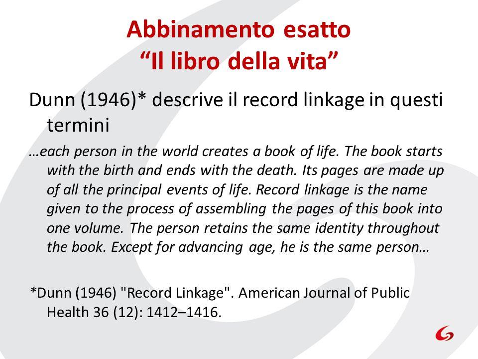 Abbinamento esatto Il libro della vita Dunn (1946)* descrive il record linkage in questi termini …each person in the world creates a book of life. The