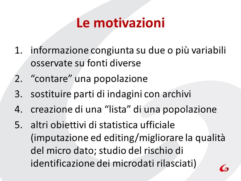 Le motivazioni 1.informazione congiunta su due o più variabili osservate su fonti diverse 2.contare una popolazione 3.sostituire parti di indagini con