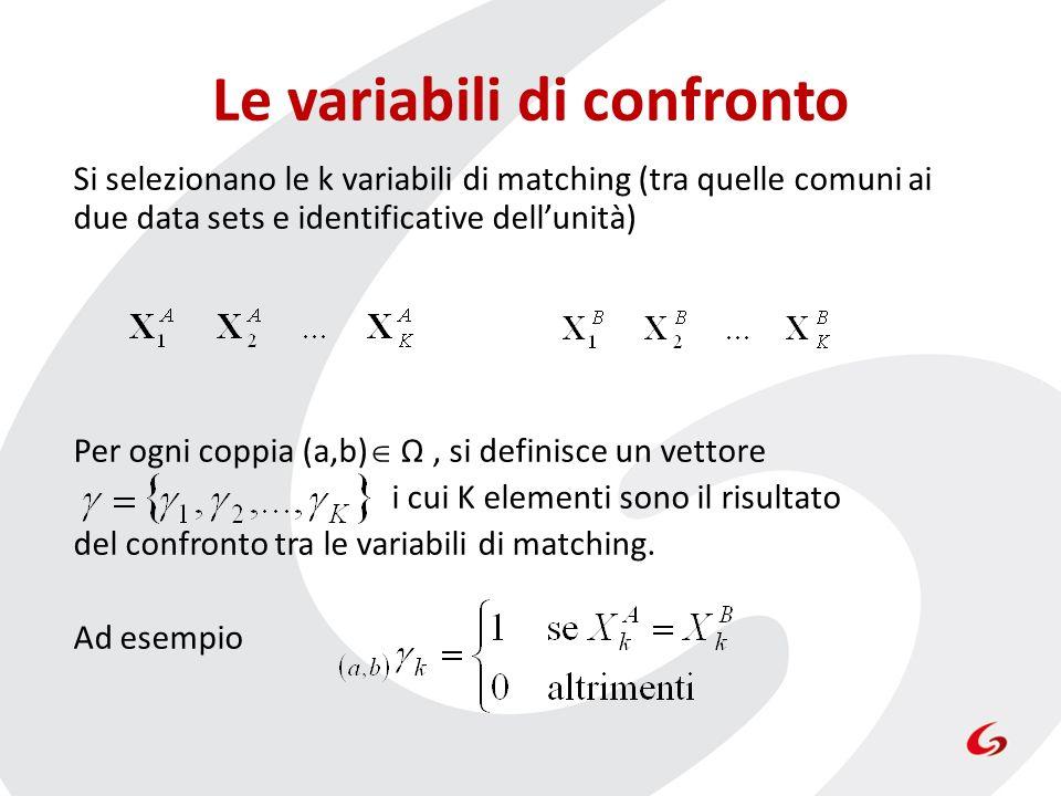 Le variabili di confronto Si selezionano le k variabili di matching (tra quelle comuni ai due data sets e identificative dellunità) Per ogni coppia (a,b) Ω, si definisce un vettore i cui K elementi sono il risultato del confronto tra le variabili di matching.