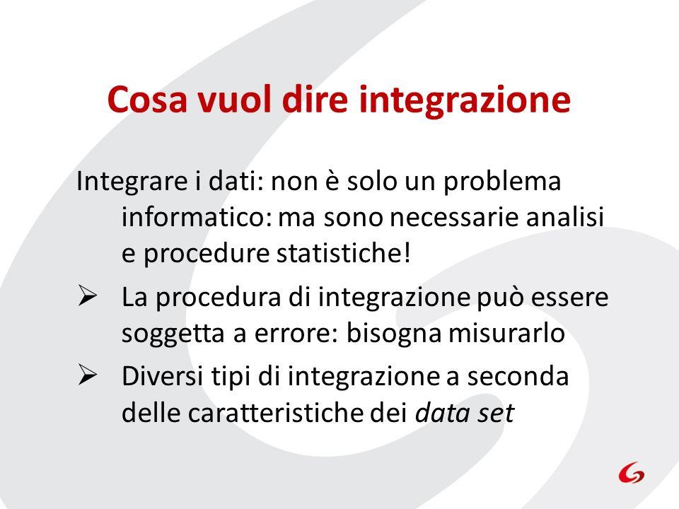 Cosa vuol dire integrazione Integrare i dati: non è solo un problema informatico: ma sono necessarie analisi e procedure statistiche! La procedura di