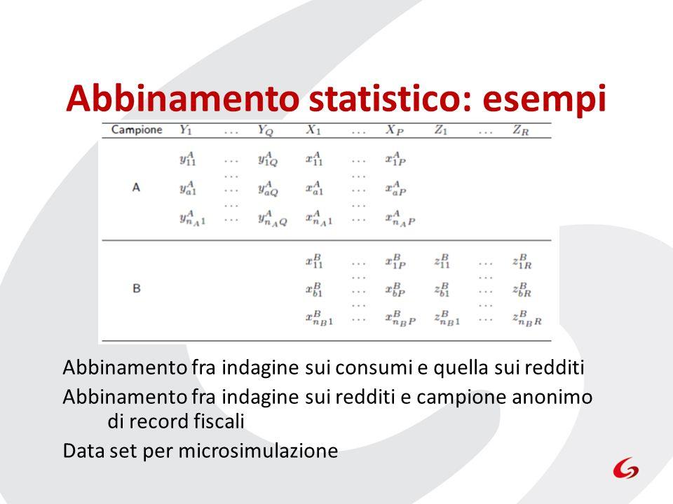 Abbinamento statistico: esempi Abbinamento fra indagine sui consumi e quella sui redditi Abbinamento fra indagine sui redditi e campione anonimo di record fiscali Data set per microsimulazione