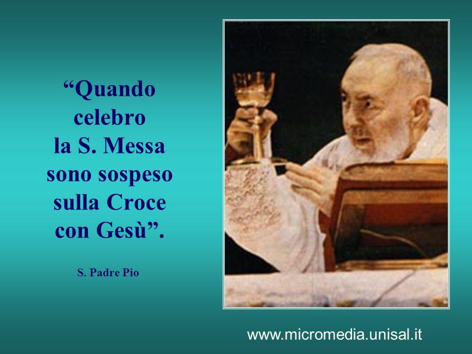 Quando celebro la S. Messa sono sospeso sulla Croce con Gesù. S. Padre Pio www.micromedia.unisal.it