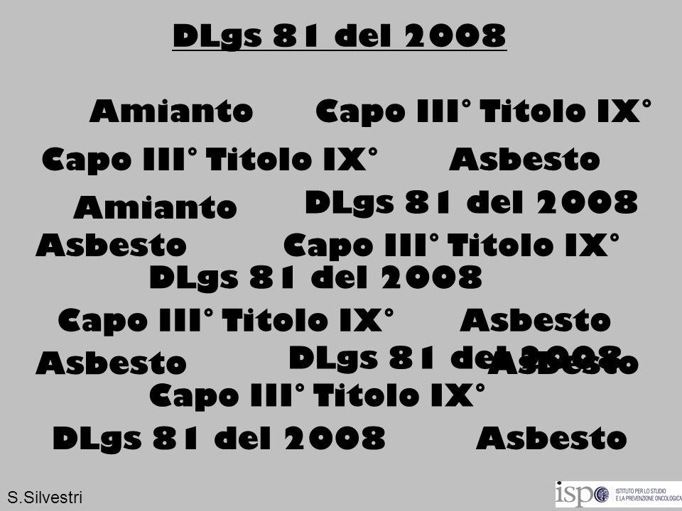 Capo III° Titolo IX° DLgs 81 del 2008 Amianto Asbesto Capo III° Titolo IX° DLgs 81 del 2008 Asbesto Amianto S.Silvestri