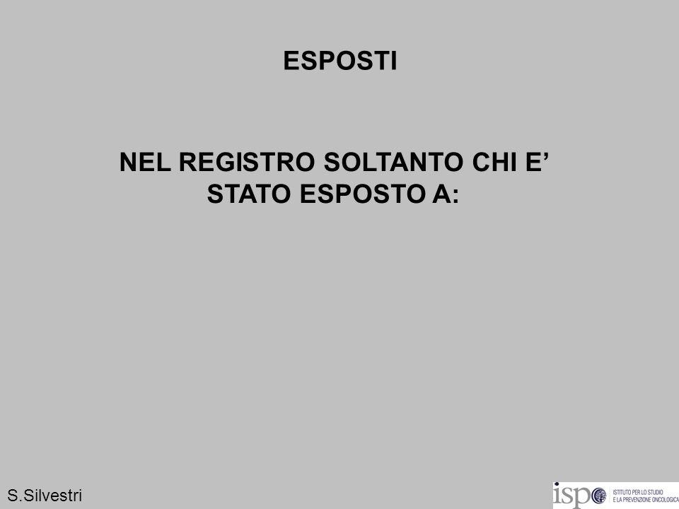 ESPOSTI NEL REGISTRO SOLTANTO CHI E STATO ESPOSTO A: S.Silvestri