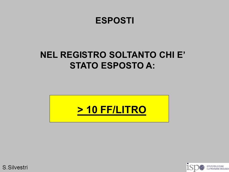 ESPOSTI NEL REGISTRO SOLTANTO CHI E STATO ESPOSTO A: > 10 FF/LITRO S.Silvestri