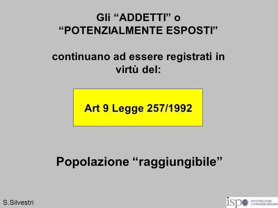 Gli ADDETTI o POTENZIALMENTE ESPOSTI continuano ad essere registrati in virtù del: Art 9 Legge 257/1992 S.Silvestri Popolazione raggiungibile