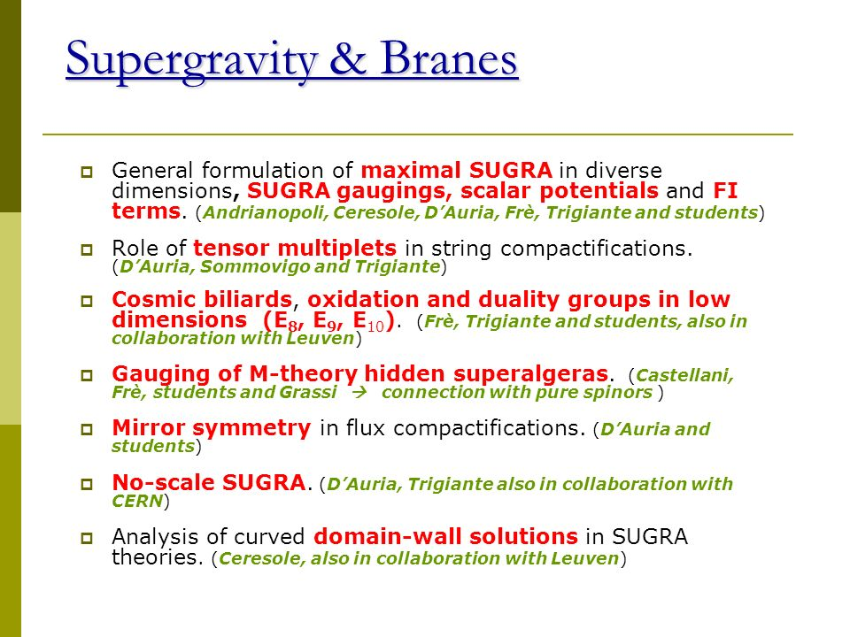 The Recent Results Supergravity & branes Strings and Branes