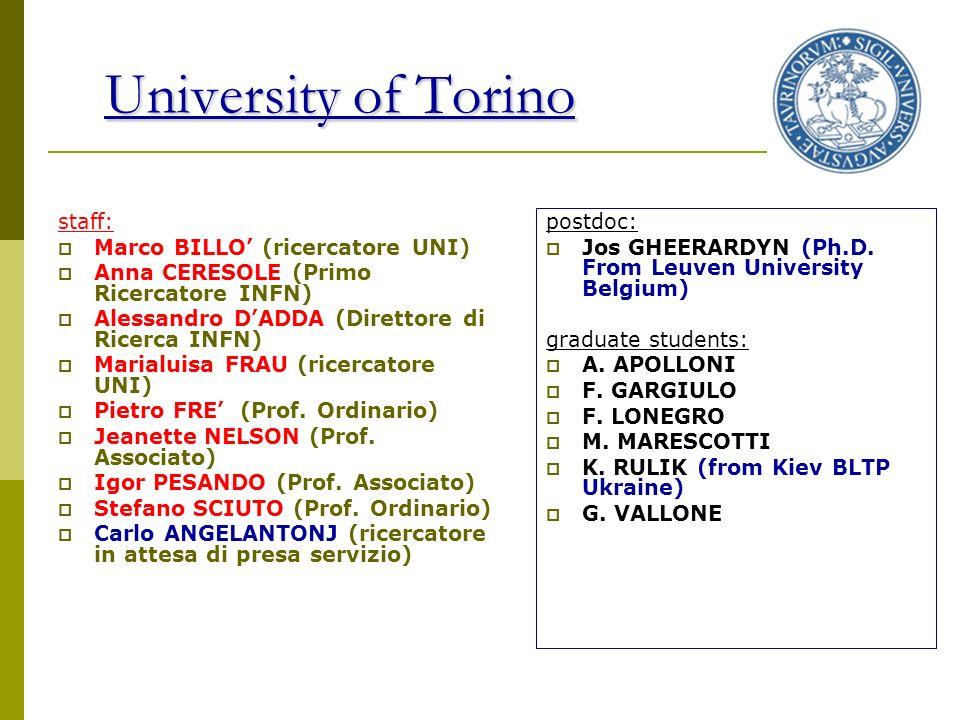 University of Torino staff: Marco BILLO (ricercatore UNI) Anna CERESOLE (Primo Ricercatore INFN) Alessandro DADDA (Direttore di Ricerca INFN) Marialuisa FRAU (ricercatore UNI) Pietro FRE (Prof.