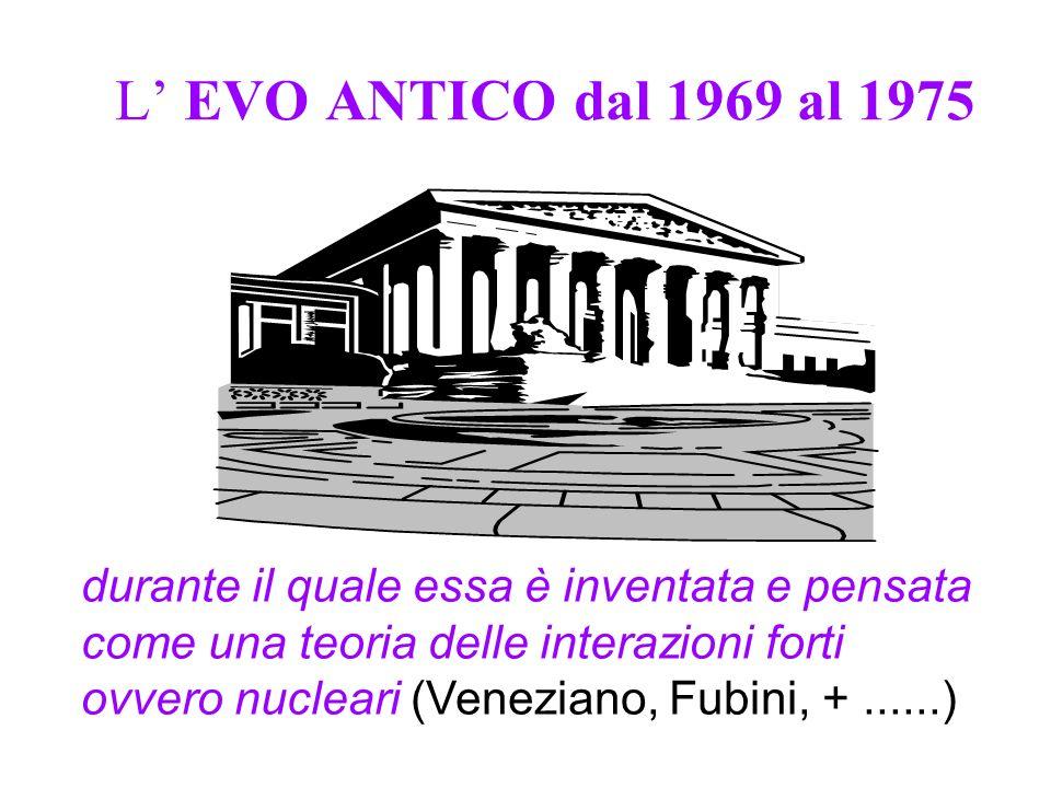 L EVO ANTICO dal 1969 al 1975 durante il quale essa è inventata e pensata come una teoria delle interazioni forti ovvero nucleari (Veneziano, Fubini, +......)