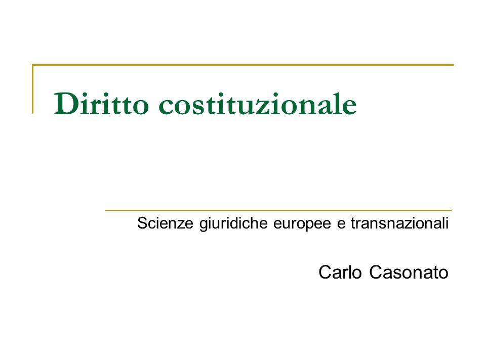 Diritto costituzionale Scienze giuridiche europee e transnazionali Carlo Casonato