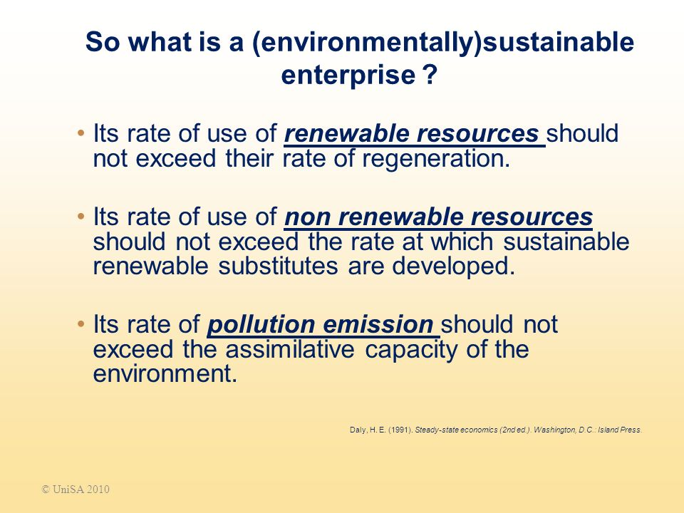 So what is a (environmentally)sustainable enterprise .