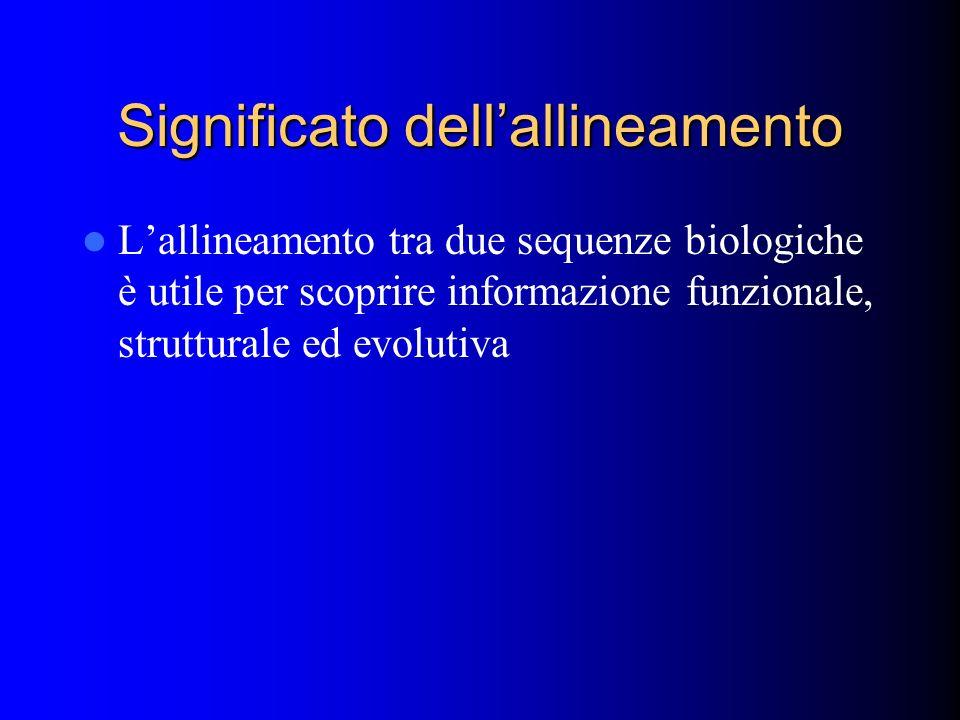 Significato dellallineamento Lallineamento tra due sequenze biologiche è utile per scoprire informazione funzionale, strutturale ed evolutiva