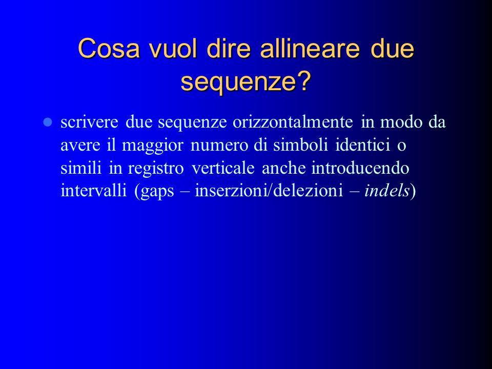 Cosa vuol dire allineare due sequenze? scrivere due sequenze orizzontalmente in modo da avere il maggior numero di simboli identici o simili in regist