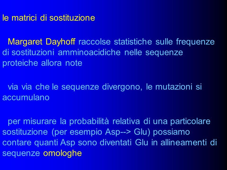 le matrici di sostituzione Margaret Dayhoff raccolse statistiche sulle frequenze di sostituzioni amminoacidiche nelle sequenze proteiche allora note v