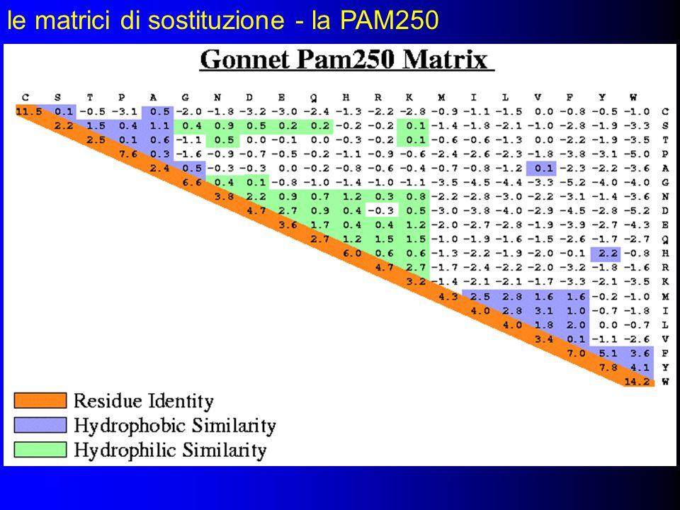 le matrici di sostituzione - la PAM250