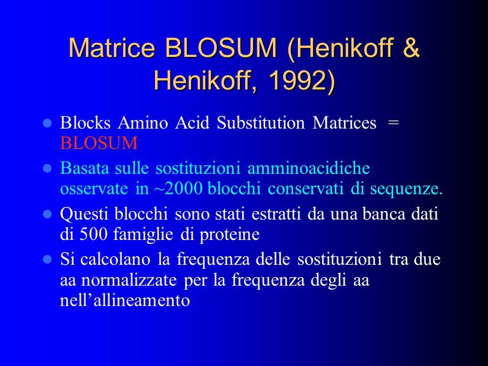 Matrice BLOSUM (Henikoff & Henikoff, 1992) Blocks Amino Acid Substitution Matrices = BLOSUM Basata sulle sostituzioni amminoacidiche osservate in ~200
