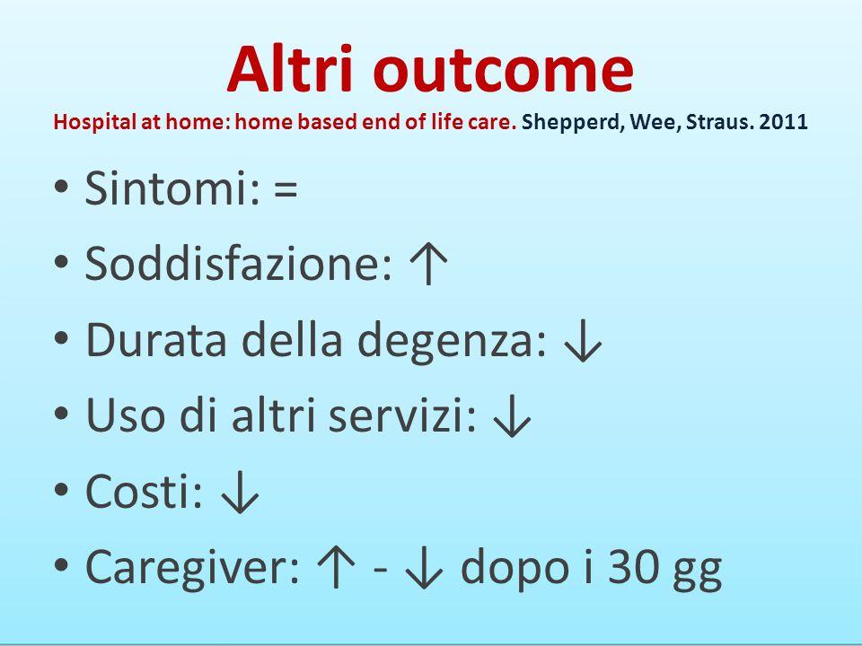 Altri outcome Sintomi: = Soddisfazione: Durata della degenza: Uso di altri servizi: Costi: Caregiver: - dopo i 30 gg Hospital at home: home based end of life care.