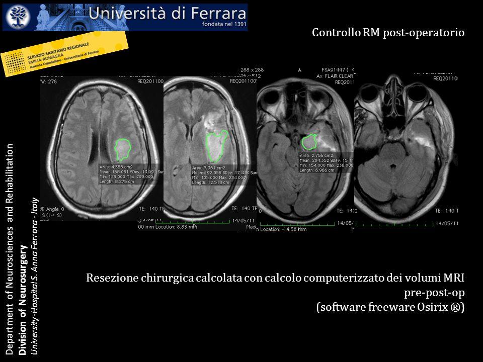 Department of Neurosciences and Rehabilitation Division of Neurosurgery University-Hospital S.