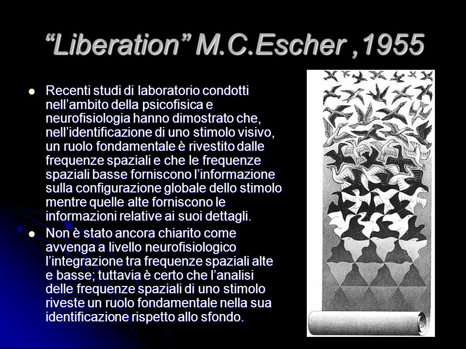 Mosaico M.C.Escher,1957 Tutti gli elementi della figura hanno qualcosa in comune tra loro e nello stesso tempo di diverso dallo sfondo e viceversa.