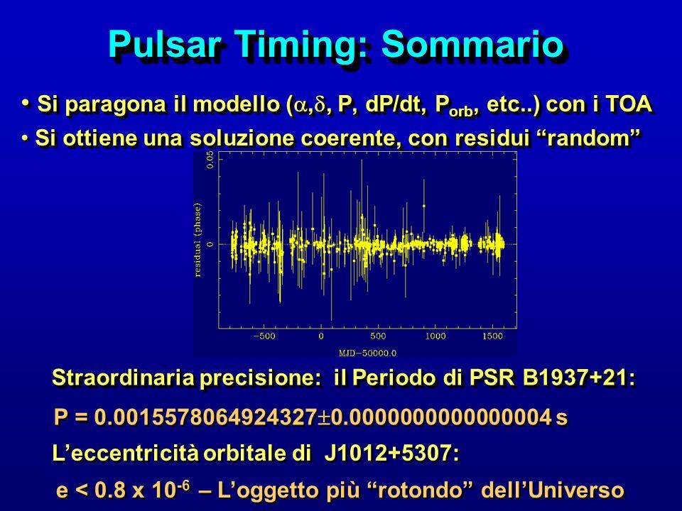 Pulsar Timing: Sommario Si paragona il modello (,, P, dP/dt, P orb, etc..) con i TOA Si paragona il modello (,, P, dP/dt, P orb, etc..) con i TOA Si o