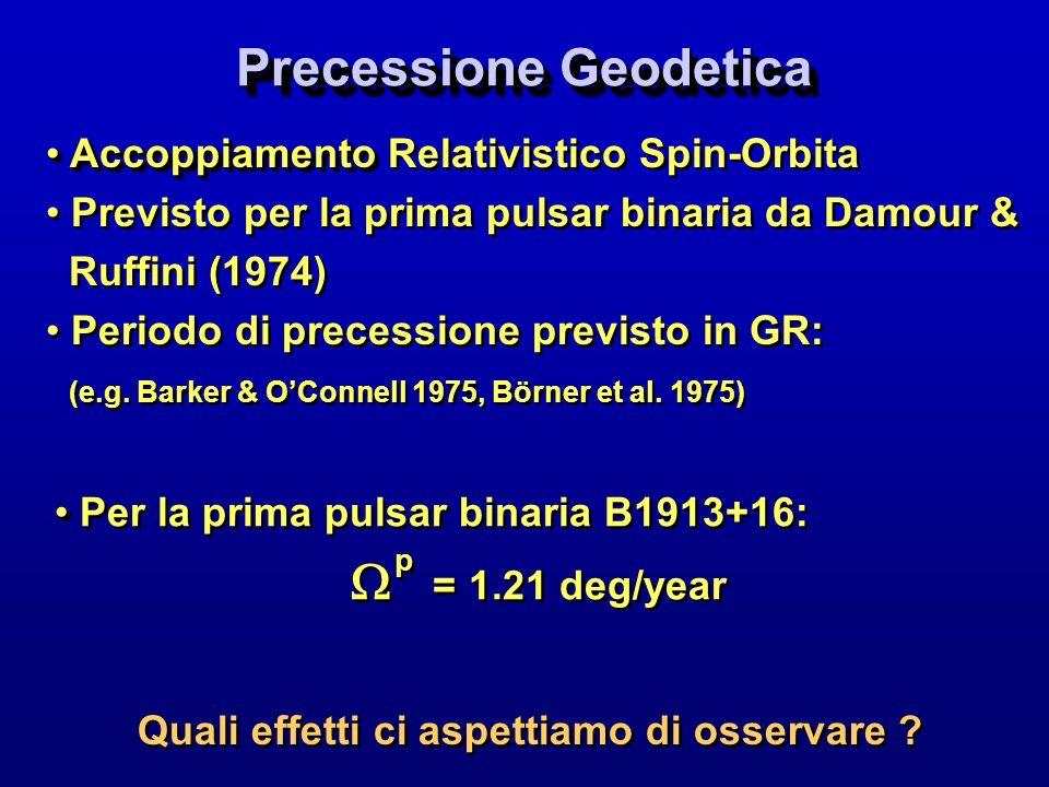Precessione Geodetica Accoppiamento Accoppiamento Relativistico Spin-Orbita Previsto per la prima pulsar binaria da Damour & Ruffini (1974) Periodo di