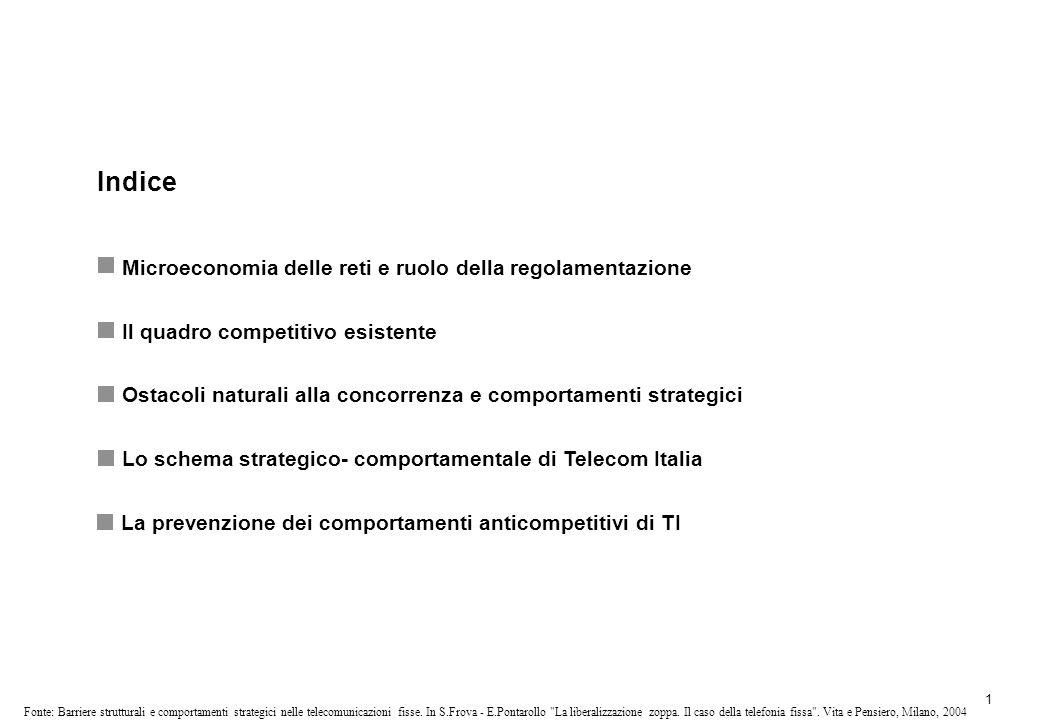 1 Fonte: Barriere strutturali e comportamenti strategici nelle telecomunicazioni fisse.