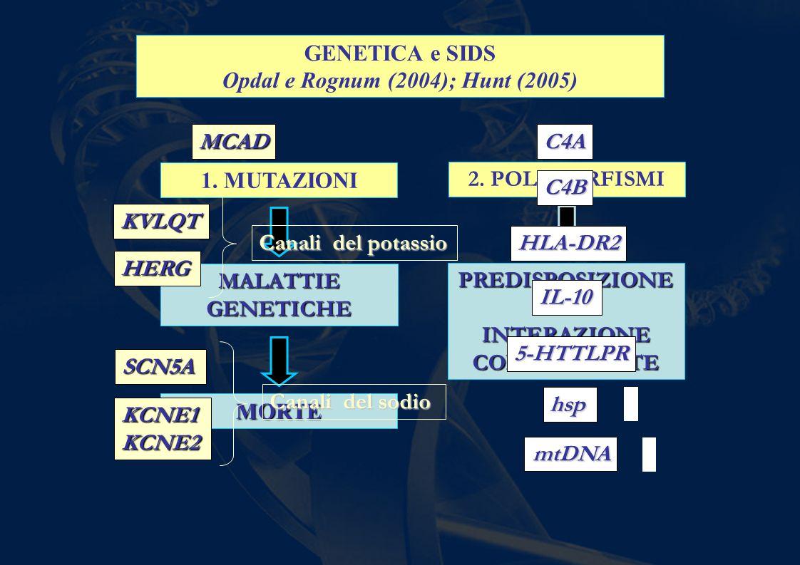 GENETICA e SIDS Opdal e Rognum (2004); Hunt (2005) 1. MUTAZIONI MALATTIE GENETICHE MORTE 2. POLIMORFISMI PREDISPOSIZIONE- INTERAZIONE CON AMBIENTE MCA