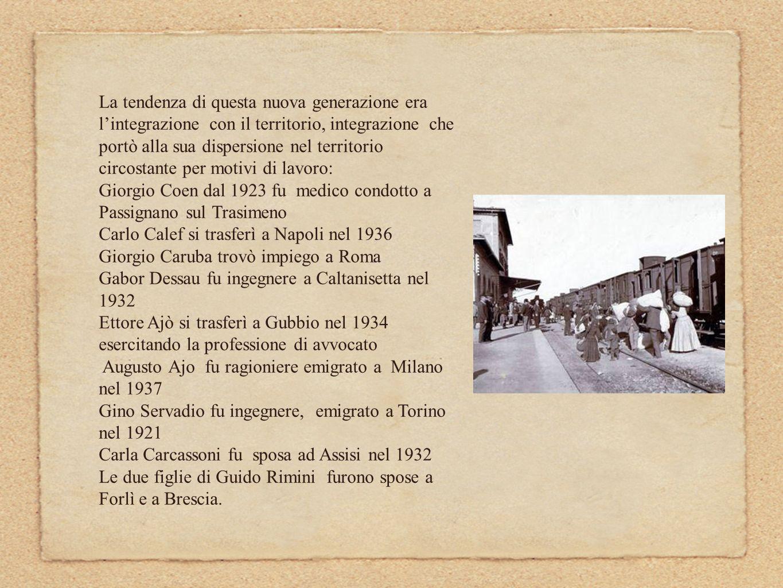 I matrimoni misti contribuirono ad alimentare la continua connessione con il territorio e con i più vari ambienti cittadini: Eva Modigliani aveva sposato Giovanni Cecchini, direttore dell Istituto Commerciale O.