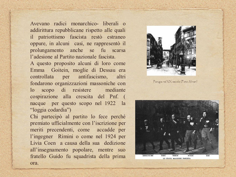 Perugia era allepoca essenzialmente semirurale e arretrata e nel momento del suo sviluppo post unitario si inseriscono nel suo tessuto lavorativo nuove imprenditorie di origine ebraica che avevano contribuito a alla prima modernizzazione cittadina.